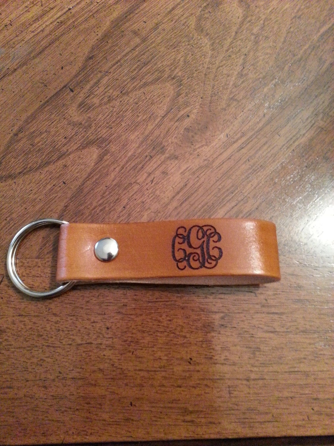 monogram leather pull strap key chain personalized key fob
