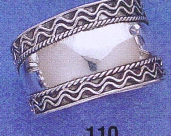 Sterling ,Silver,925, Bali, Wide Cigar Band Ring,Ring Size US  6 to 9