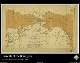 Print of the Bering Sea Currents - 1881 Nautical Map