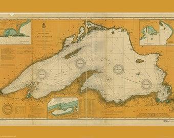 Print of Lake Superior - 1904 Nautical Map