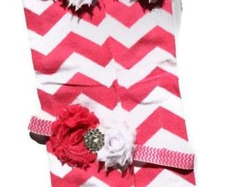 Beautiful Hot Pink Chevron Leg Warmers with Matching Headband Set, Makes great photography prop