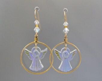 Swarovski Crystal Angel Earrings, Iridescent Angel Earrings