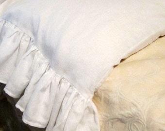 Linen Standard Ruffled Pillow Case