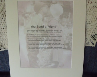 Poem..You Send A Friend  by Donna Munafo..proceeds go to ministry
