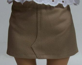"Khaki Mini Skirt fits 18"" dolls"