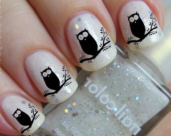 Free Shipping - Black OWLS on a Tree Nail Art (OWT)- Familiar Symbols Nail Art Water Slide Transfers Not Stickers