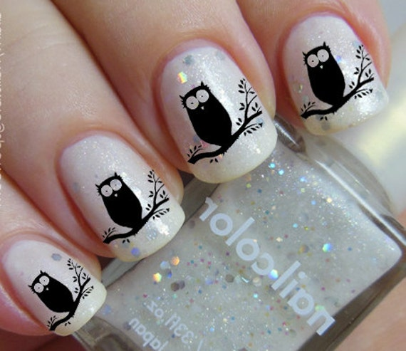 Like this item? - Black OWL Nail Art OWT Owls In A Tree Familiar Symbols Black