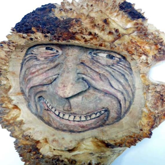 Wood spirit carving maple burl wall art hanging by joshcarteart
