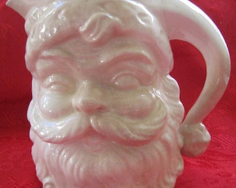 Santa Claus Pitcher Vintage 1950s Wink Winking White Collectible Christmas Vase Server
