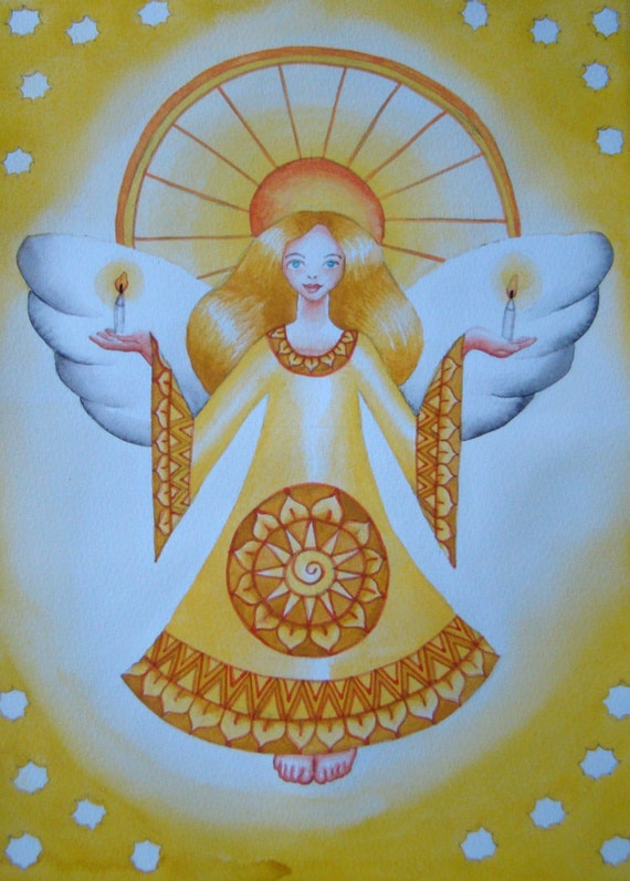 Folk Art Solar Plexus Chakra Manipura Angel with Candles and Stars. Original watercolour painting. Size 21cm x 29 cm.
