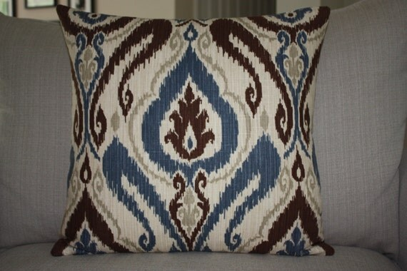 Wedgewood Blue Throw Pillows : Wedgewood Blue Ikat 20x20 Decorative Designer Throw by EastEndSaje