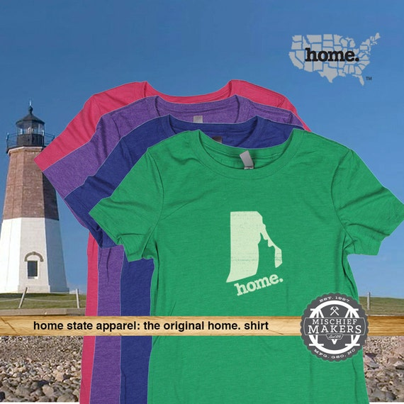 Rhode island home tshirt womens red green by homestateapparel for T shirt printing providence ri