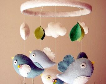 "Baby crib mobile, Bird mobile, felt mobile, nursery mobile, baby mobile,""Aqua Birds - Hoop """