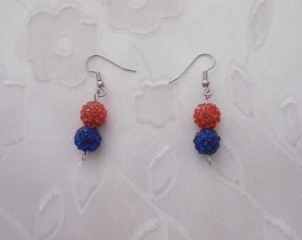 Handmade, Orange and Blue Swarovski Crystal Pave Earrings, Illinois, Fighting Illini, Denver Broncos