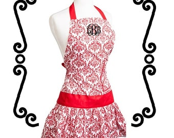 Monogrammed APRON - Red Damask - Custom Embroidery - Perfect Gift for the Bride - Bridal Shower Gift - Hostess Gift
