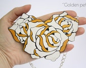 "Unique wooden roses shaped pendant necklace on a brass cain in white, gold and black color (""Golden petals"")"