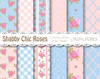"Shabby Chic Digital Paper: ""ROMANTIC"" Pink Blue Roses for scrapbooking, invites, cards"