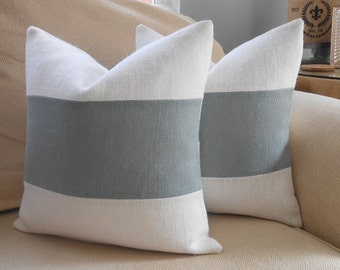 Burlap Pillow Cover in Off White & Grey