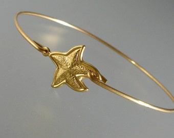Gold Starfish Bangle Bracelet, Gold Bangle Bracelet, Gold Starfish Bracelet, Tropical Beach Jewelry  (180G.)