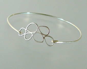 Silver Bubble Teardrop Bangle Bracelet, Silver Bangle Bracelet, Silver Bracelet, Bridesmaid Jewelry, Bridesmaid Gift (214S.)