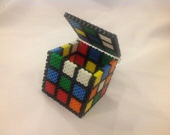 3D Rubik's Cube - Perler Bead Box w/Hinged Lid