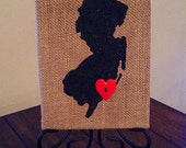 6 in x 8 in Burlap New Jersey Map