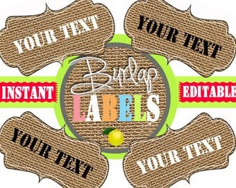 Burlap Labels -Printable Labels - INSTANT and EDITABLE - Pantry Labels, Bathroom Labels, Office Labels, Organization Tags