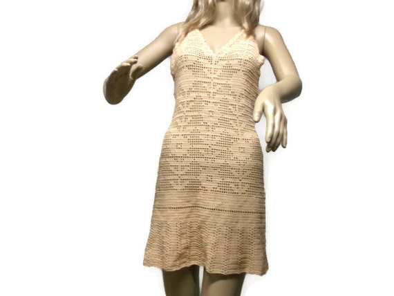 Woman Crochet Dress sexy Deep Back Cut  Peach Dress medium size