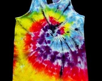 Aqua Spiral Tie Dye Tank Top Shirt