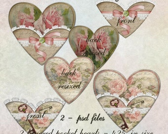 Pocket Hearts Layered 3 - Digital Scrapbooking and Paper Craft Images