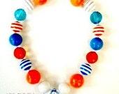 Orange, Blue, White, Stripe Toddler, Girl Chunky Necklace, Bubblegum Necklace