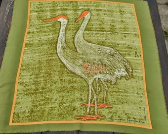 Large Vintage  Silk Christian Dior green orange shades scarf decorated with crane birds