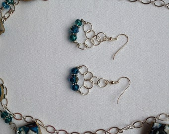 Glamorous simple chain maille turquoise crystal earrings match anything!