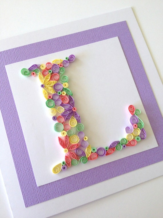 Items Similar To Handmade Quilled Card Monogram Initial