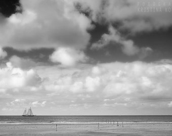 SAIL BOAT photography print, black and white nautical sea landscape, 8x12