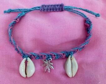 Sea Shell and Cannabis Leaf Charm Macrame Hemp Bracelet Blue and Purple and Adjustable