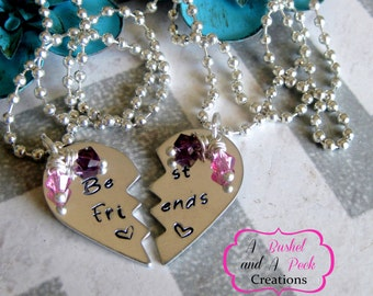 Hand stamped Best Friends Necklaces Broken Hearts w/birthstones