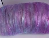 purple and blue 80%alpaca 20bamboo  Sadies hazy sky 2 oz batt