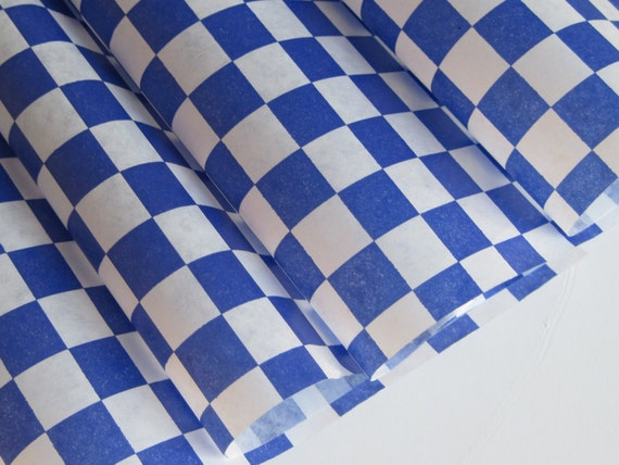 "Wax Paper-50 Sheets of Blue and White Checkered Wax Paper-Deli Sandwich Wrap-Box and Tray Paper Liners-Navy Plaid Wrapping Paper 12"" x 12"""