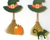 witch broomstick magnets needlepoint plastic canvas