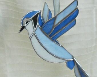 Stained glass large bird, blue jay flying bird, 3D suncatcher art, window hanging decoration, mother's day gift, outdoor garden decor.
