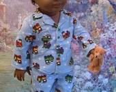 Train Pajamas with Teddy Bear for 18 Inch Boy Doll