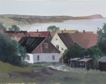 Vintage Seascape Oil Painting Fine Art Original from Sweden by Tage Ahlm Listed Artist