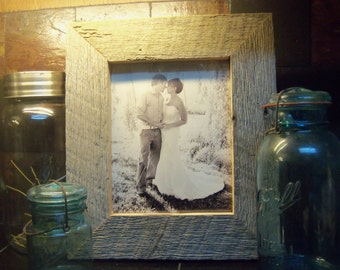 Picture Frame Custom handmade from Upcycled Weathered Barn Wood, country, engagement photo frame, reception, wedding, gift, family photo,