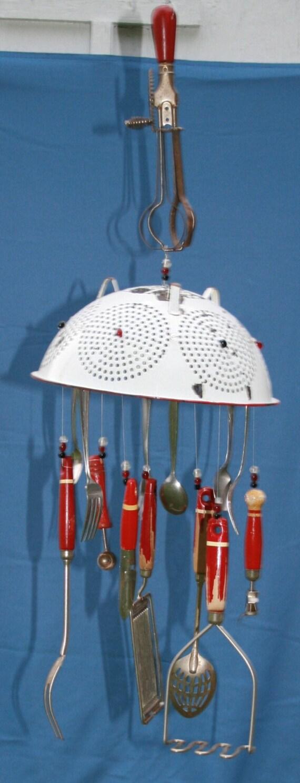 Vintage Wind Chime Kitchen Utensils Red White Enamelware Mixer