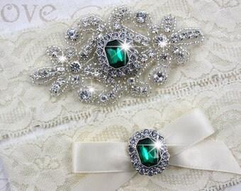 SALE - RACHEL - Emerald Wedding Garter Set, Wedding Stretch Lace Garter, Rhinestone Crystal Bridal Garters
