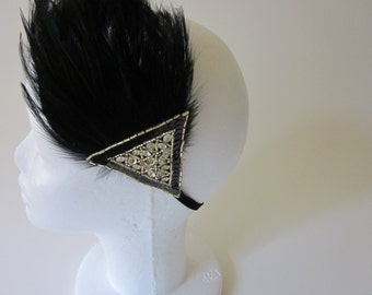 Tocados boda, Flapper Dress Headpiece, Great Gatsby Dress Headband, flapper headpiece, gold black headband, Art Deco 20s Dress Headband