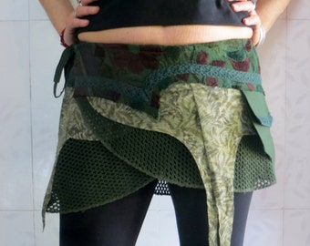 Boho Psy Trance Clothing - Mini skirt in green cotton and lycra