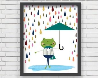 Watercolor Home Decor Nursery Wall Art - Frog in Rain Art Print
