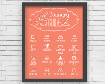 Home Decor Orange Laundry Room Art Print - 8x10 or 11x14